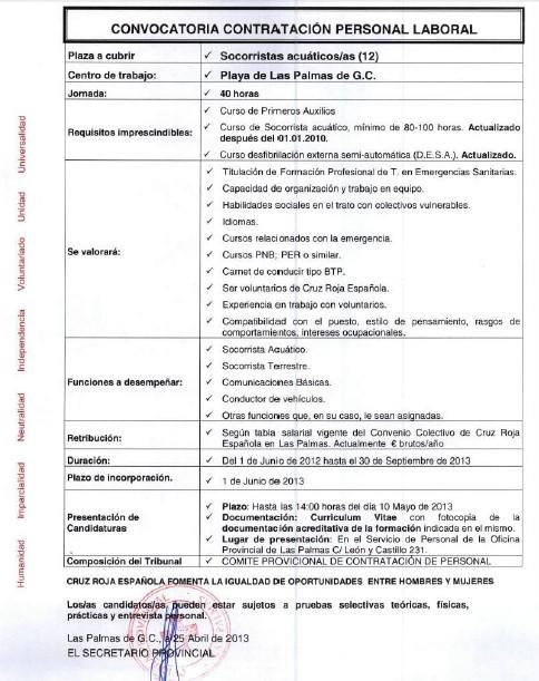 Good Oferta De Empleo: Socorrista Para Las Palmas De Gran Canaria U2013 Cruz Roja