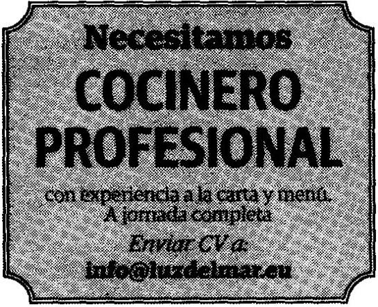 Oferta de Empleo: Cocinero