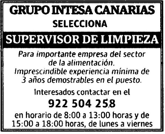 55e05911882d5 Empleo en Tenerife  Supervisor de Limpieza y Comercial de Hostelería ...