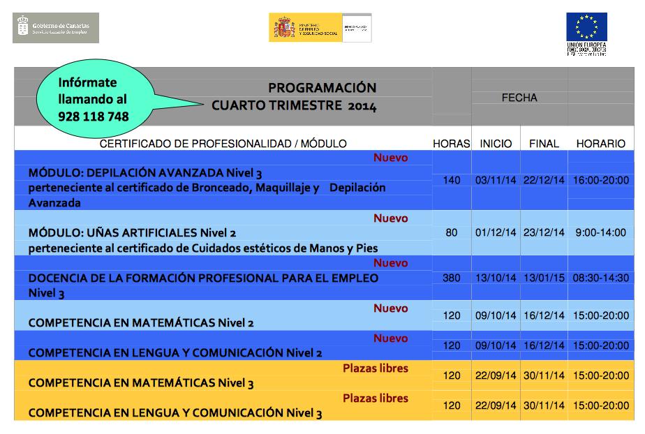 Nuevos cursos del centro nacional de formaci n de las palmas ofertas de trabajo becas empleo - Bolsa de trabajo las palmas ...