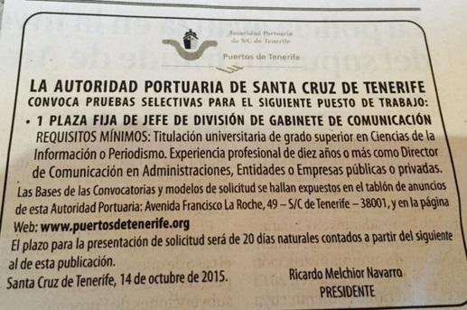 Jefe de División de Gabinete de Comunicación para Puertos de Tenerife