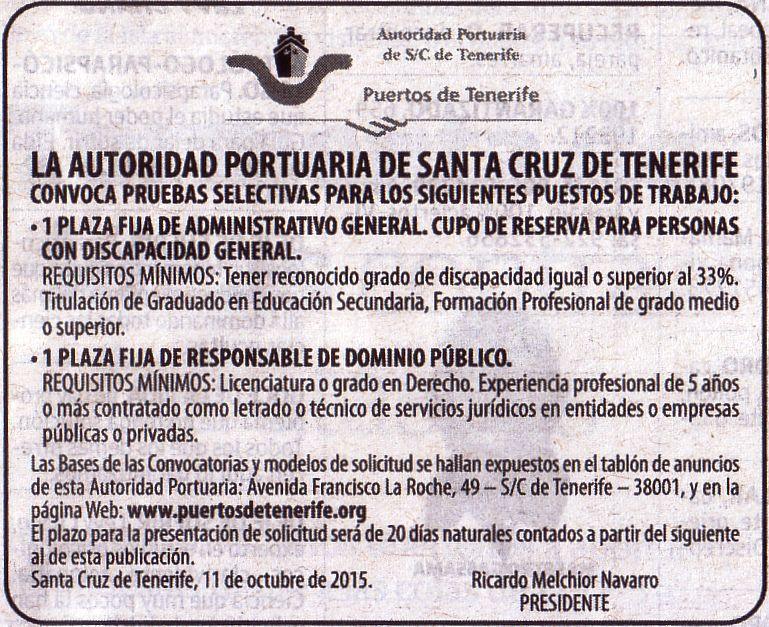 Oferta de Empleo de la Autoridad Portuaria