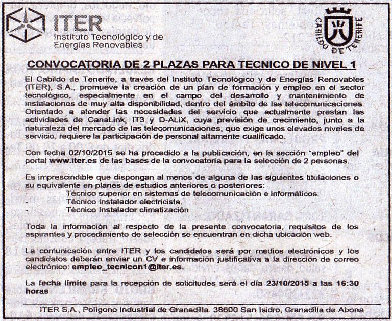 Oferta: Iter_Plazas para Técnico de Nivel 1