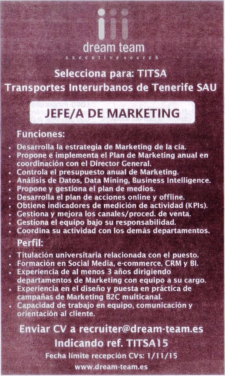Oferta de Empleo: Jefe/a de Marketing