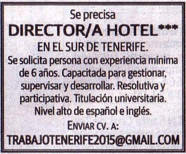 Oferta: Director/a de Hotel