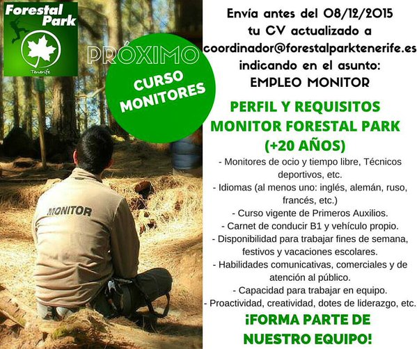 Monitores/as para el Forestal Park, Tenerife