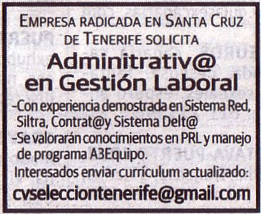 Oferta: Administrativo/a en Gestión Laboral