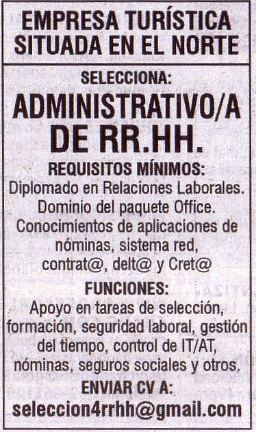 Oferta: Administrativo de RRHH para el norte de Tenerife