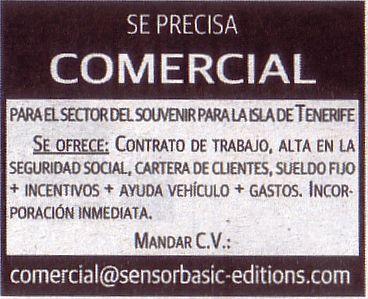 Oferta: Comercial para el sector del souvenir en Tenerife