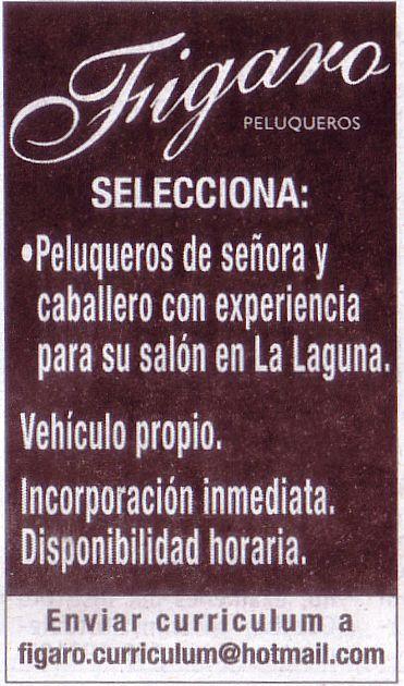 Oferta de Empleo: Peluqueros de señora y caballero para La Laguna