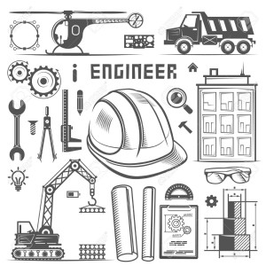 Icons Engineer drawing style art. Vector illustration