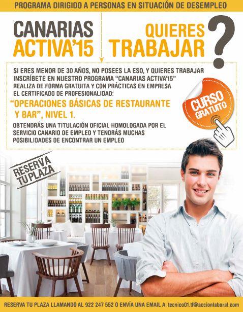 """Curso gratis """"Operaciones Básicas de Restaurante y Bar"""", en Acción Laboral"""