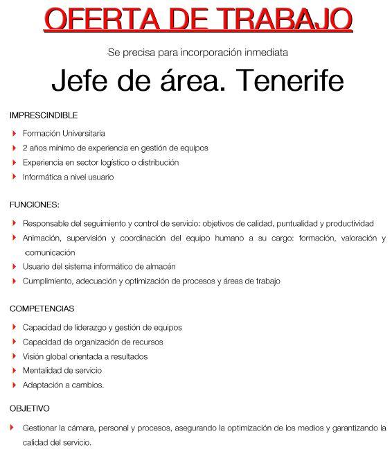 Jefe/a de Área para Tenerife