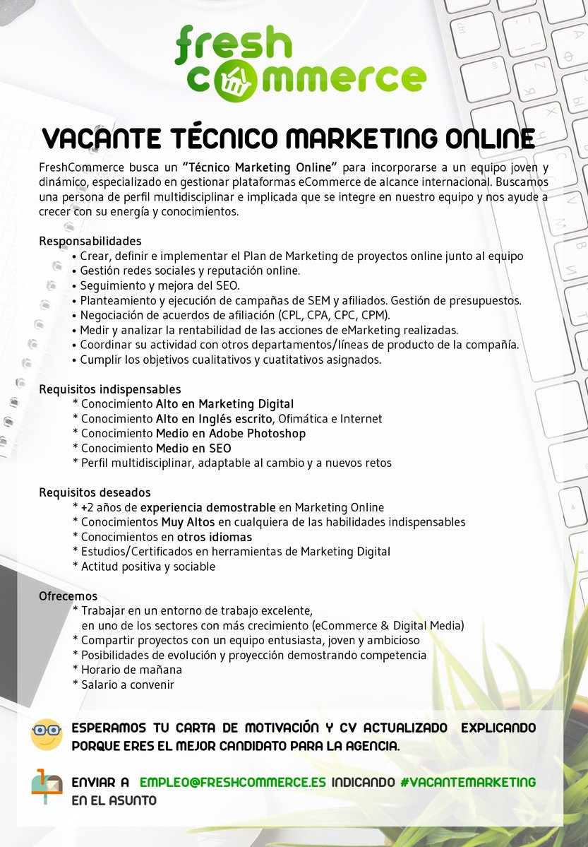 Técnico Marketing Online para Fresh Commerce