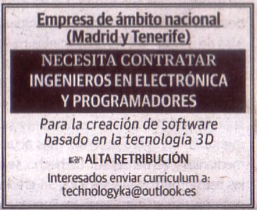 Oferta: Ingenieros/as en Electrónica y Programadores/as