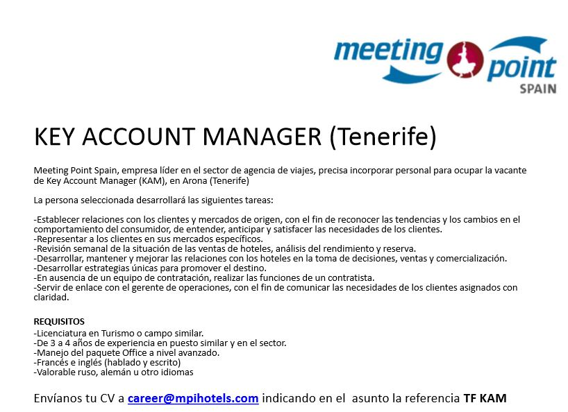 Key Account Manager para Tenerife