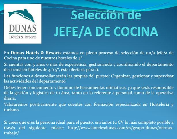 Jefe/a de Cocina para hotel en Gran Canaria