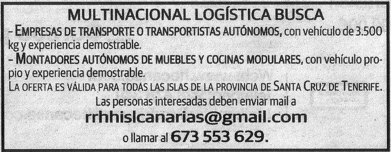 Oferta: Personal para Logística