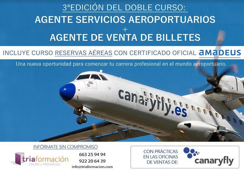 """3ª Edición del curso: """"Agente Servicios Aeroportuarios + Agente de Venta de Billetes"""" con prácticas en Canaryfly en todas las Islas Canarias"""
