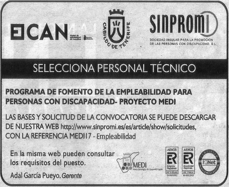 Oferta: Personal Técnico para Sinpromi