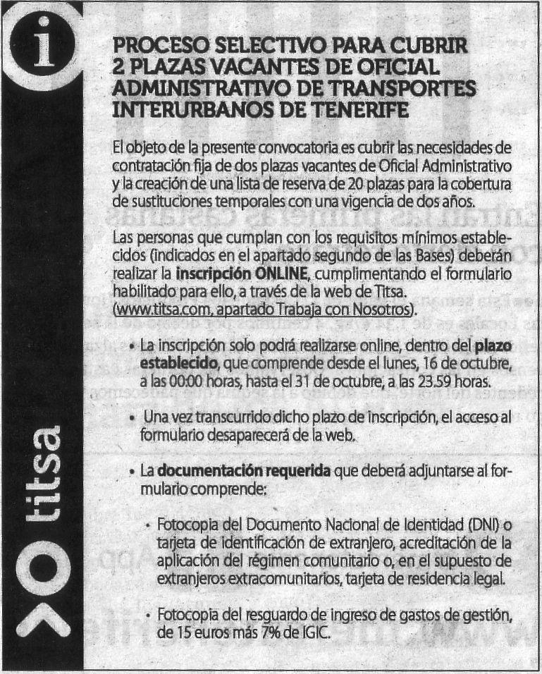Oferta de Titsa: 2 oficiales administrativos/as