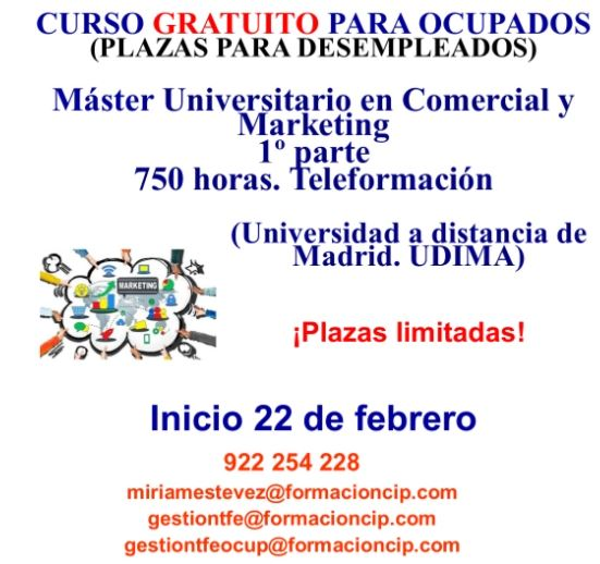 "Teleformación: Curso gratuito ""Máster Universitario en Comercial y Marketing"""