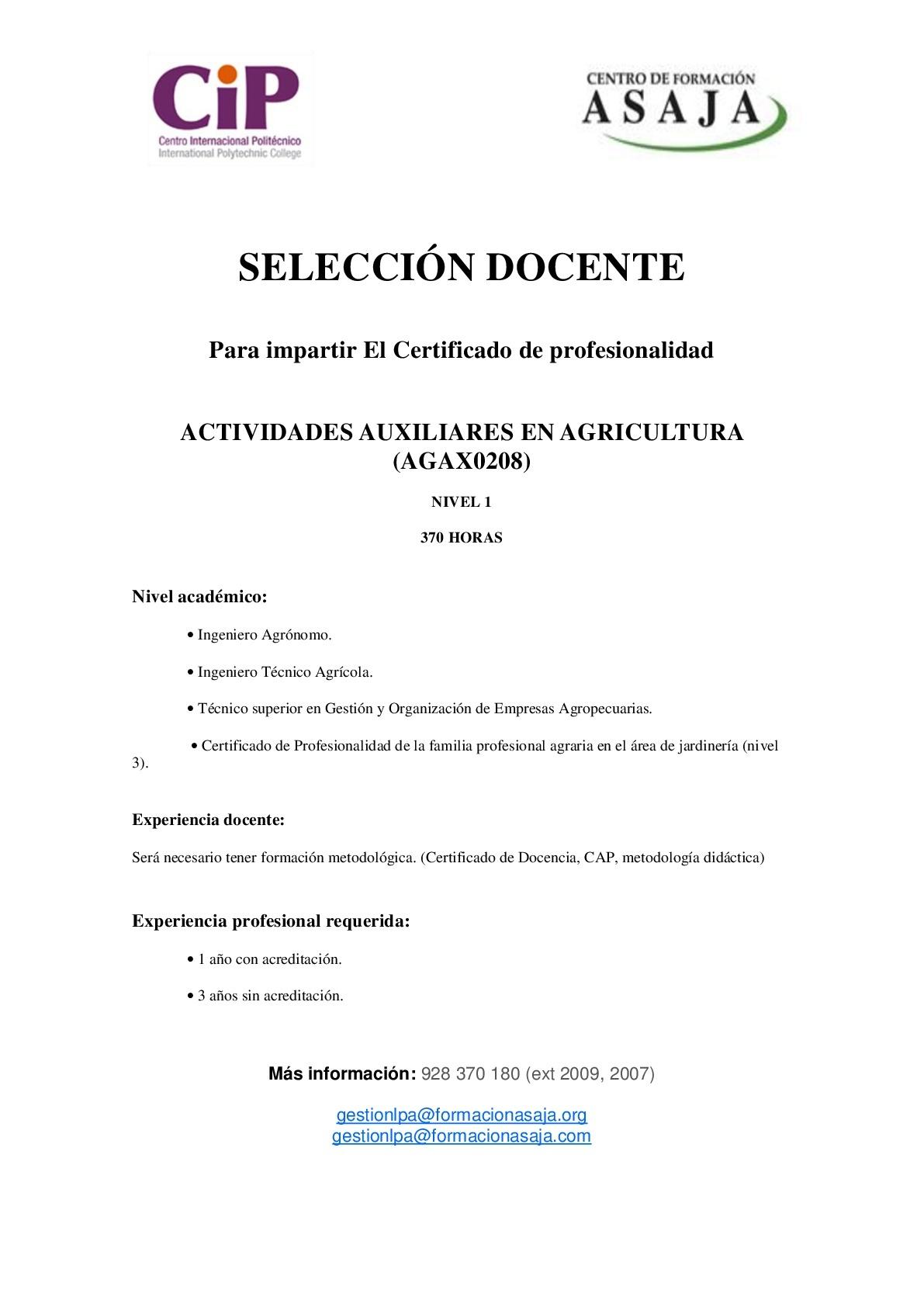 """Docente de """"ACTIVIDADES AUXILIARES EN AGRICULTURA"""" para Gran Canaria"""