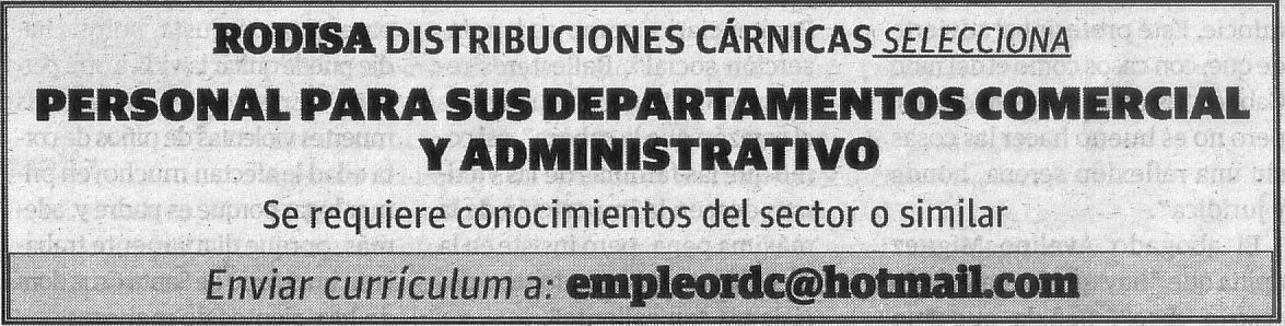 Oferta de Rodisa: Comercial y Administrativo/a