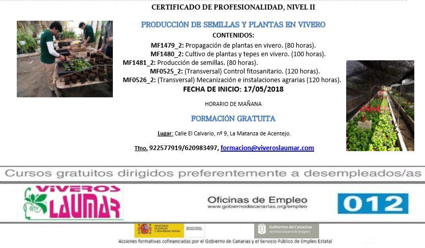 """Curso gratis: """"PRODUCCIÓN DE SEMILLAS Y PLANTAS EN VIVEROS"""" en La Matanza de Acentejo"""
