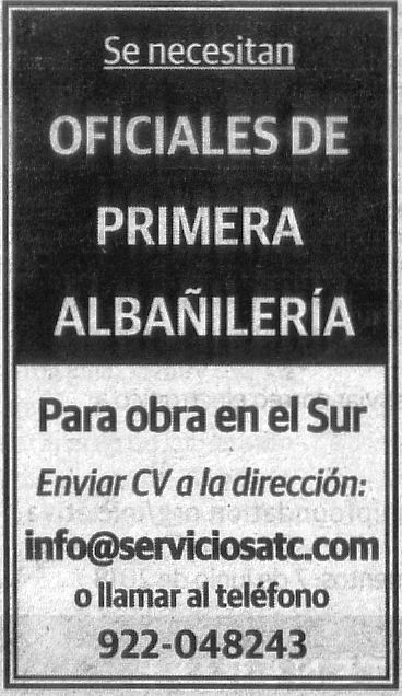 Oferta: Albañil para el sur de Tenerife