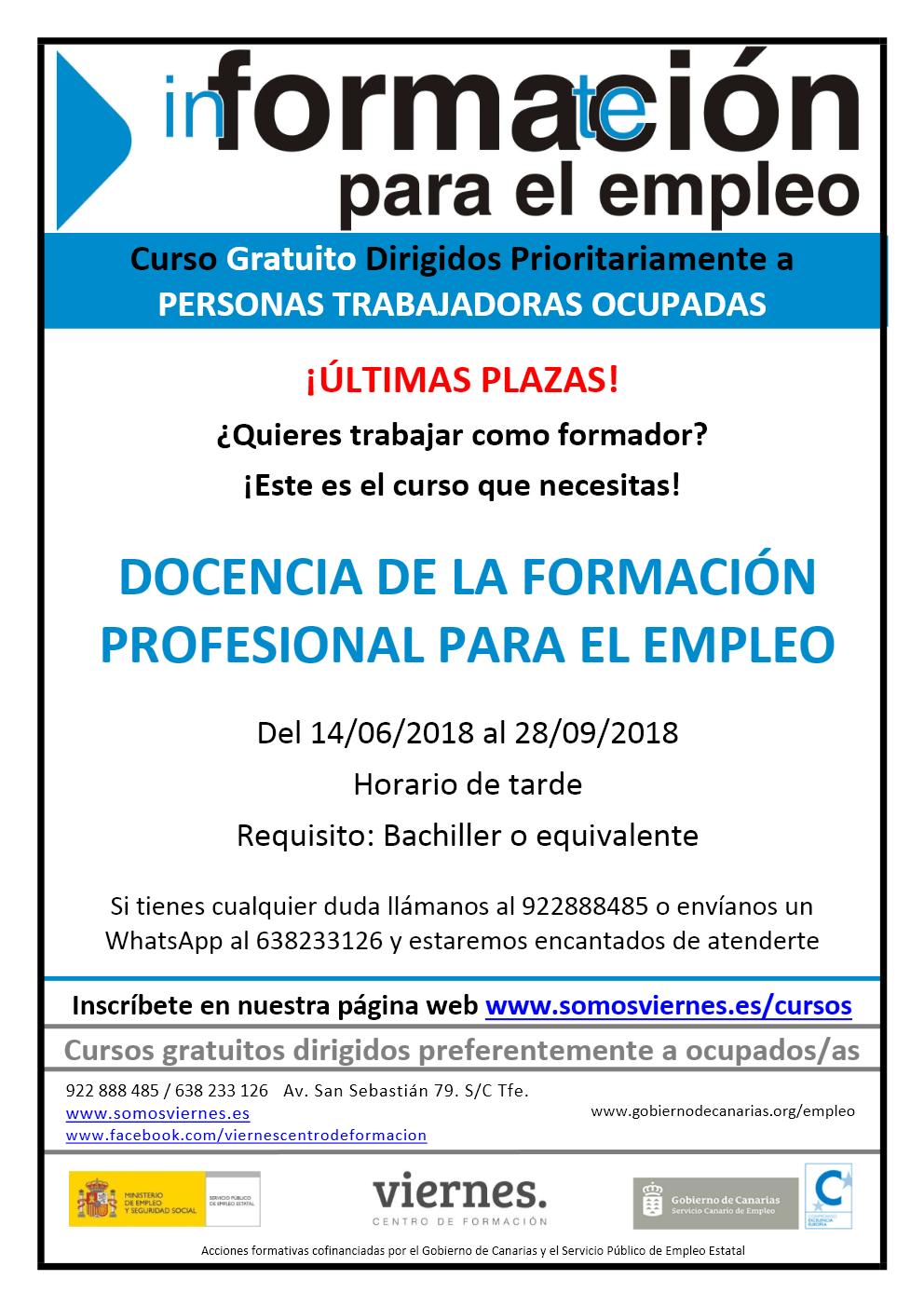 """Últimas plazas del curso """"Docencia de la Formación Profesional para el Empleo"""""""