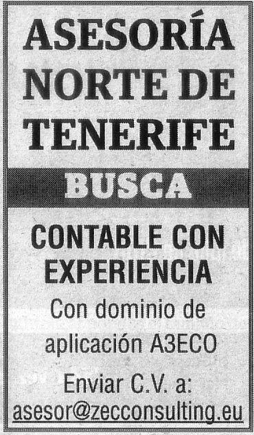 Oferta: Asesoría en el norte de Tenerife busca contable con experiencia