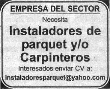 Oferta: Instaladores/as de parquet y/o carpinteros/as
