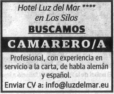Camarero/a para el Hotel Luz del Mar en Los Silos