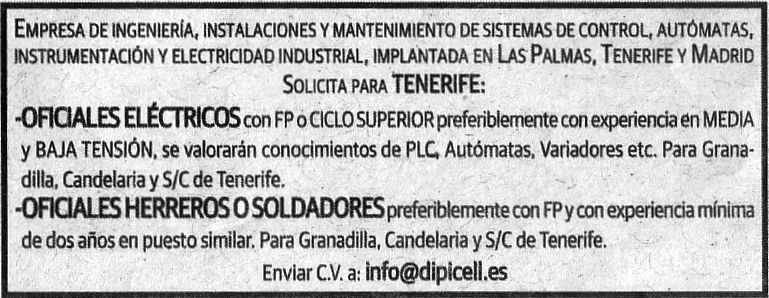 Oferta: Oficiales Eléctricos, Herreros o Soldarores para Tenerife