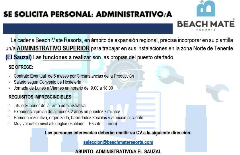 Administrativo/a Superior para El Sauzal
