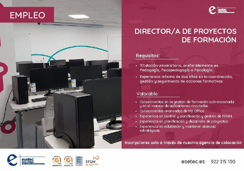"""""""Director/a de proyectos de formación"""" para el sur de Tenerife"""