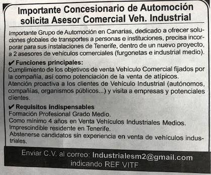 Asesor/a Comercial de Vehículos Industriales