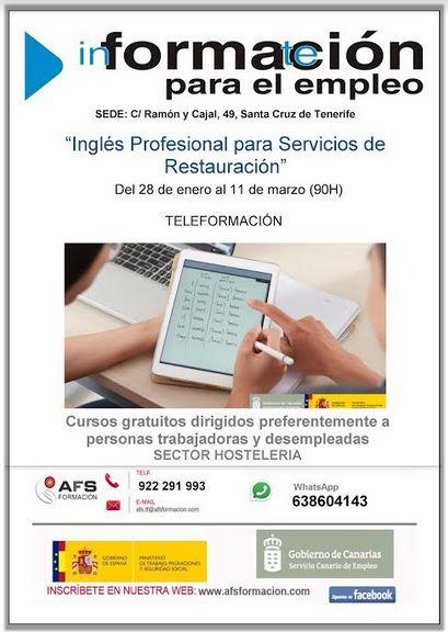 "Curso gratis ""Inglés Profesional para Servicios de Restauración"" en Santa Cruz de Tenerife"