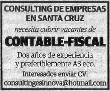 Oferta: Contable-Fiscal para Santa Cruz de Tenerife