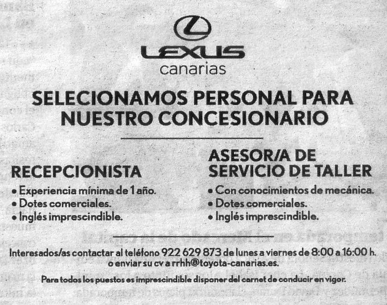 Recepcionista y Asesor/a de Servicio de Taller para Lexus